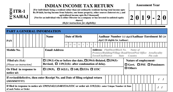 How to File ITR 1? Know Everything About ITR 1 or Sahaj Form